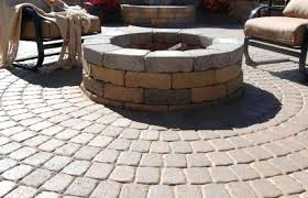 patio rectangular paver concrete round
