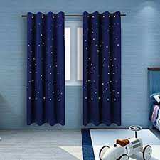 Amazon Com 2 Panels Twinkle Star Kids Room Curtains With 2 Tiebacks Buzio Thermal Insulated Blackout Curtains Kids Room Curtains Blue Kids Room Cool Curtains