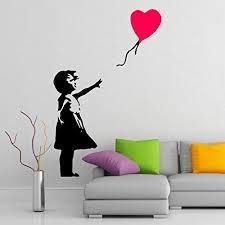 Amazon Com 24 X 16 Banksy Vinyl Wall Decal Girl With Heart Balloon Street Graffiti Art Decor Sticker Home Removable Diy Mural Free Random Decal Gift Kitchen Dining