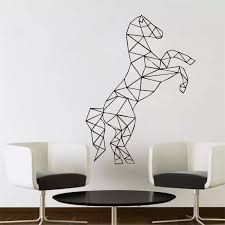 Living Room Wall Decal Full Of Spirit Horse Geometric Wall Stickers Lift The Front Foot Up Animal Vinyl Home Decor Syy87 Wall Decals Home Decorliving Room Aliexpress