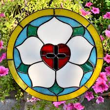 luther rose round stained glass panel