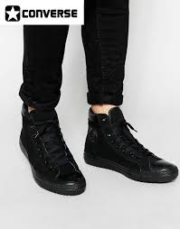converse black leather high tops mens