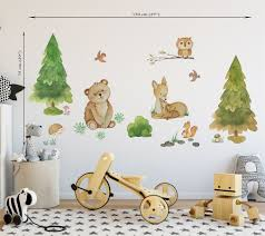 Woodland Wall Decal Girl Forest Animal Decal Woodland Wall Sticker Woodland Nursery Decal Woodland Animals Decal Woodland Animal Wall Decal In 2020 Woodland Nursery Decals Woodland Wall Decals Wall Stickers Woodland