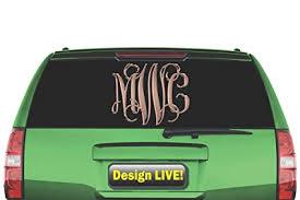 Custom Monogram Car Decal 5 To 11 Script Vine Design Letters Personal Initials