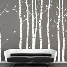2 Best Birch Aspen Tree Wall Art Vinyl Models White Silhouette Amazing Living Room Interior Decoration On Aspen Silhouette Wall Art Aspen Trees Tree Wall Art