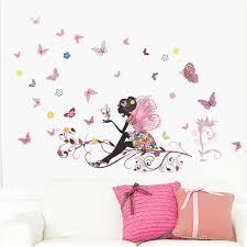 Colorful Flower Fairy Butterfly Girls Cartoon Kids Room Decor Wall Sticker Decal For Sale Online Ebay
