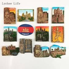 Lychee Life Cambodia Angkor Wat Resin Refrigerator Magnet Sticker For Fridge Souvenir Landscape Magnets Home Decoration Fridge Magnets Aliexpress