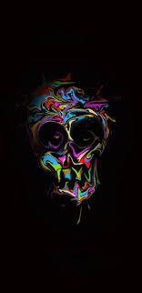 glitch art colorful skull