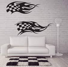 Vinyl Decal Racing Car Wall Stickers Speed Machine Power Flag Grandsta Wallstickers4you