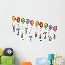 Little Men With Balloons Wall Decal Sticker Set Wallmonkeys Com