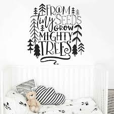 Nursery Quote Wall Decal From Tiny Seeds Grow Mighty Trees Wall Sticker Tribal Kids Room Decor Woodland Tree Vinyl Decal Ay1225 Wall Stickers Aliexpress