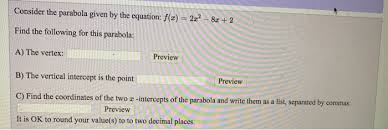 solved consider the parabola given by