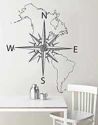 Amazon Com Stickerbrand Vinyl Wall Art Map Of North South America With Compass Wall Decal Sticker Black 72 X 57 Easy To Apply And Removable