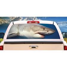 Shark Rear Window Graphic Decal Tint Truck View Thru Vinyl Walmart Com Walmart Com