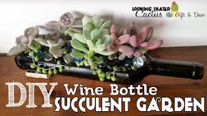 wine bottle succulent garden