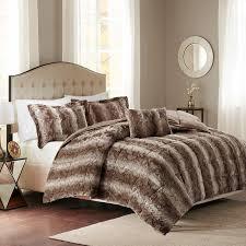 jackson chocolate faux fur bed set queen