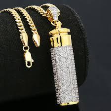 14k gold plated fully cz cylinder stash