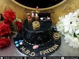 makeup kit theme s birthday cake at