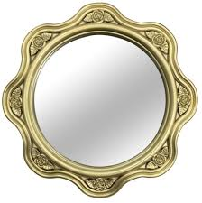 set of 3 gold wall mirrors hanging