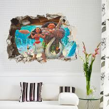 Cartoon Movie Moana Maui Vaiana Wall Sticker For Kids Rooms 3d Effect Wall Decals Children Pvc Art Decals Children S Room Decor Sticker For Kids Room Wall Stickers For Kidswall Sticker Aliexpress