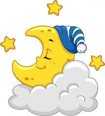 Kreslený spící měsíc stock fotografie, royalty free Kreslený spící ...