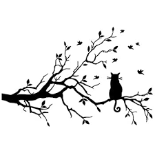 Black Tree Branches With A Cat On The Tree Wall Decal For Home Decor Amazon Com