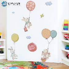 Flying Rabbit Cartoon Wall Stickers For Baby Rooms Door Decoration Stickers Child Room Decor Waterproof Vinyl Wall Decal Kawaii Nordic Wall Decor