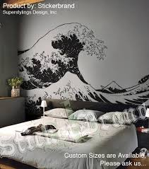Vinyl Wall Decal Sticker Japanese Great Wave Hokusai 363 Size 65in X 118in Decal Wall Art Wall Graphics Wall Painting