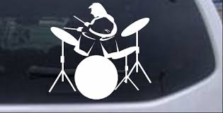 Drummer Outline Line Art Decal Car Or Truck Window Decal Sticker Rad Dezigns