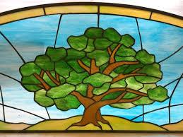 tree stained glass transom custom tree