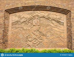 Bas-relief Brick Mural, One Of Nine Panels By Mara Smith At The Hotel  Anatole In Dallas, Texas. Stock Image - Image of outside, sculpture:  178190377