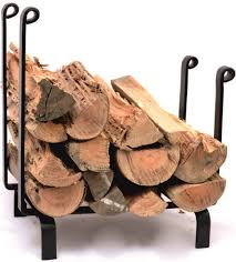 log holder black metal wood storage