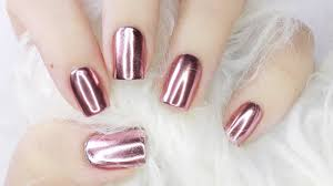 rose gold mirror chrome nails with gel