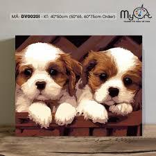 Tranh tô màu tự vẽ sơn dầu số hóa DV0020I Tranh động vật con vật hai chú  chó con