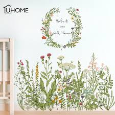 Waliicorners Flower Green Grass Baseboard Wall Stickers Skirting For Balcony Living Room Mural Art Home Decoration Pvc Wall Decal Waliicorner S Store