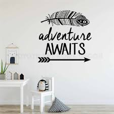 Adventure Awaits Feather Wall Decal Decoration Vinyl Sticker Art Bedroom Living Room Quote Travel Theme Boys Nursery Decal Y172 Wall Stickers Aliexpress