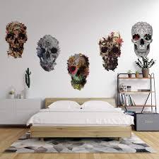 Skull Wall Decal Set Set Of 5 Floral Skull Wall Sticker Sugar Skull Ikiiki Shop