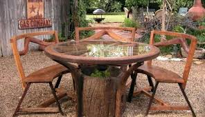 wood table with metal chairs