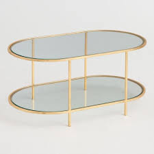 oval brass white marble coffee table