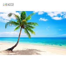 خلفيات صيفية من Laeacco مناسبة لشاطئ البحر والسماء الأزرق وزرقاء