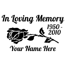 In Loving Memory Car Sticker With Rose Memorial Vinyl Decal