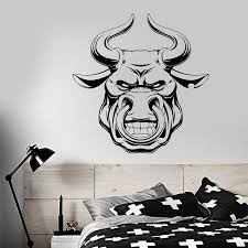 Angry Bull Wall Decal Animal Head Meat Logo Restaurant Bar Man Cave Interior Decor Art Door Window Vinyl Stickers Wallpaper Q959 Wall Stickers Aliexpress