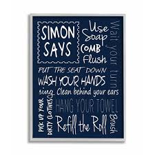 Shop Stupell Industriessimon Says Bath Rules Chalkboard Bathroom Wall Art Grey Framed 11 X 14 Proudly Made In Usa 11 X 14 Overstock 30336246