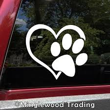 Paw Print Heart 4 Die Cut Vinyl Decal Car Window Sticker Puppy I Love My Dog