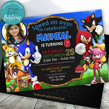 Invitacion De Cumpleanos De Sonic The Hedgehog Editable Con Foto