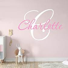 Amazon Com Choose Initial Color Personalized Baby Girls Decal Nursery Decor Custom Name And Initial Vinyl Wall Decal Wall Stickers X Small Baby