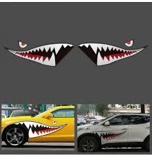 150cmx50cm Shark Month Teeth Vinyl Sticker Car Body Exterior Scratch Cover Decal Waterproof