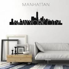 New York City Skyline Silhouette Pattern Wall Decal Custom Vinyl Home Decor For Living Room Art Plane Wall Stickers Wl1615 Wall Stickers Aliexpress