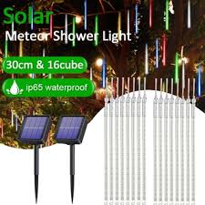 144led 288led Solar Meteor Shower String Lights 30cm Waterproof Xmas Decoration Light Falling String Lights For Wedding Party Christmas Lights Shopee Philippines