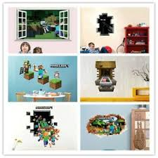 Minecraft Wall Stickers Cartoon 3d Popular Game Home Christmas Decoration Kids Ebay